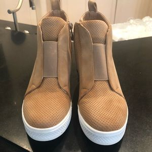 Shoes - Wedge sneaker shoe with zipper. Brand new